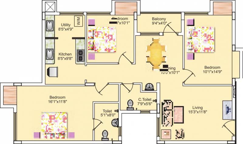 Sreevatsa Sankara Apartments 2 (3BHK+2T (1,365 sq ft) 1365 sq ft)