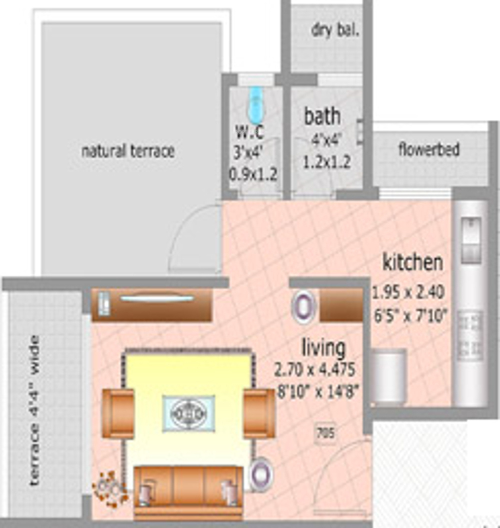 527 sq ft 1 bhk 1t apartment for sale in shree sawan for 527 plan