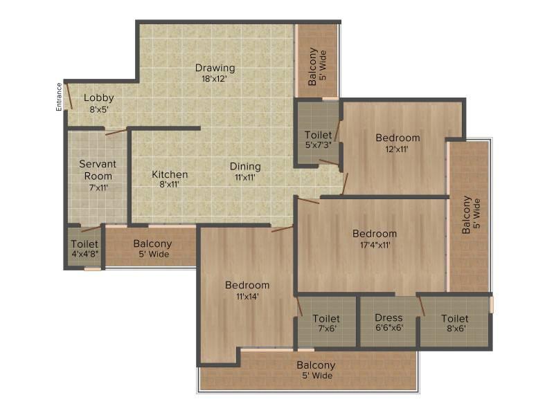 Antriksh Grand View (3BHK+3T (2,250 sq ft) + Servant Room 2250 sq ft)