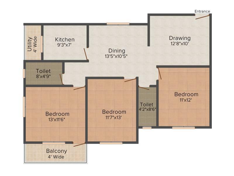 SB Kokila Palace (3BHK+2T (1,401 sq ft) 1401 sq ft)