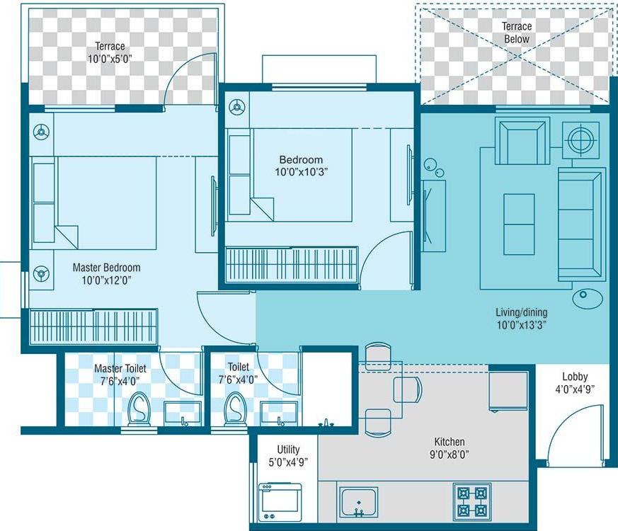 845 sq ft 2 bhk 2t apartment for sale in sarthak realtors for Floor plans for realtors