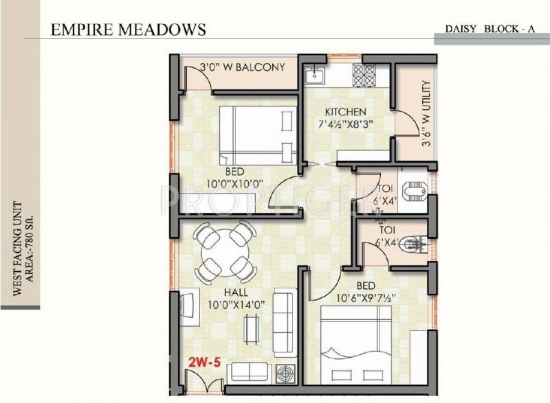 780 sq ft 2 bhk floor plan image empire meadows meadows for 780 square feet house plan