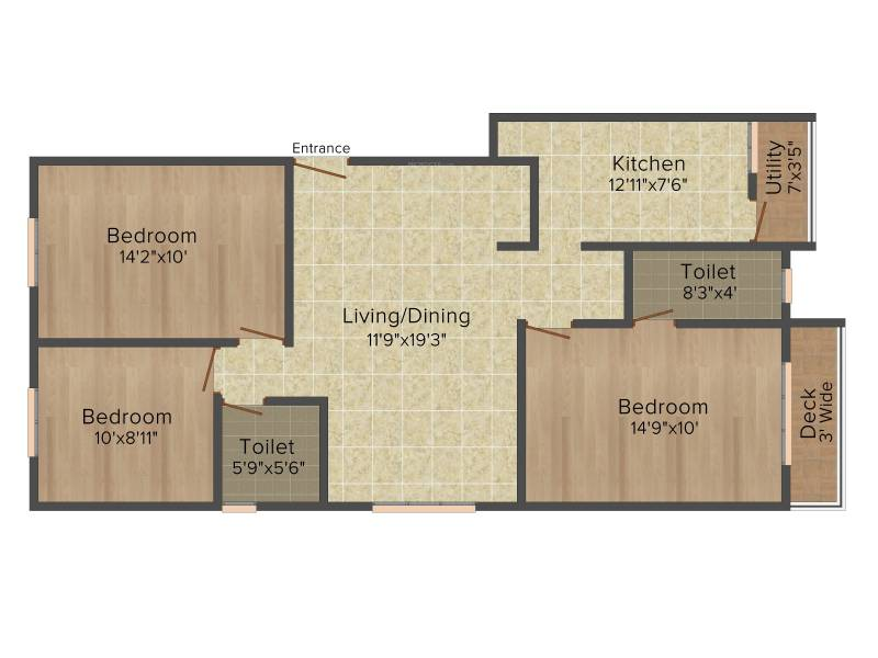 Colorhomes Avenue (3BHK+2T (1,220 sq ft) 1220 sq ft)
