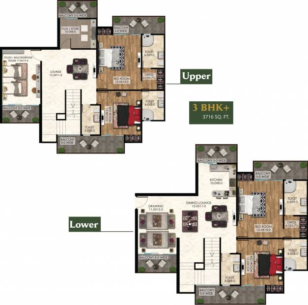 The Antriksh The Golf Address (4BHK+4T (3,716 sq ft)   Study Room 3716 sq ft)