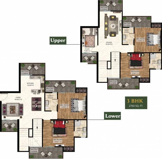 The Antriksh The Golf Address (4BHK+4T (2,760 sq ft)   Study Room 2760 sq ft)
