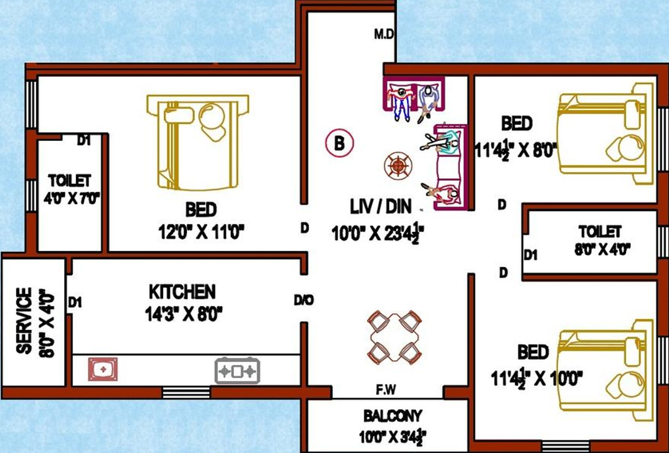 1129 Sq Ft 3 Bhk 2t Apartment For Sale In Perfect Builders