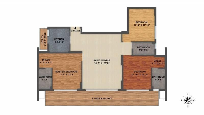 ILD Arete (3BHK+3T (1,785 sq ft) 1785 sq ft)