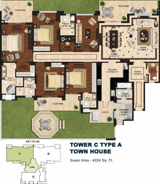 4224 Sq Ft 4 BHK 6T Apartment For Sale In Central Park