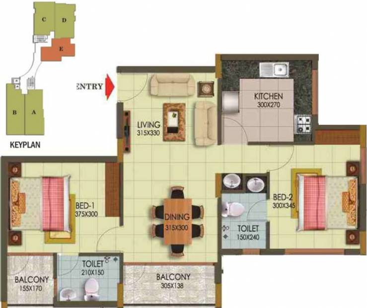 Arcon Infinity (2BHK+2T (1,002 sq ft) 1002 sq ft)