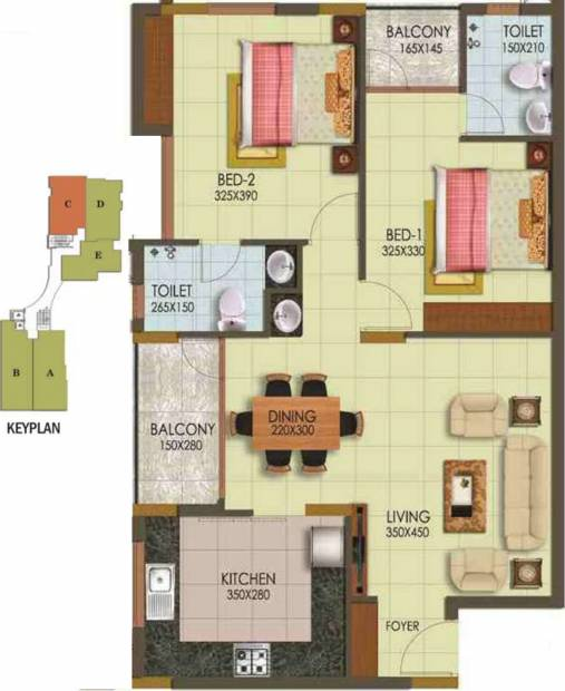 Arcon Infinity (2BHK+2T (1,140 sq ft) 1140 sq ft)