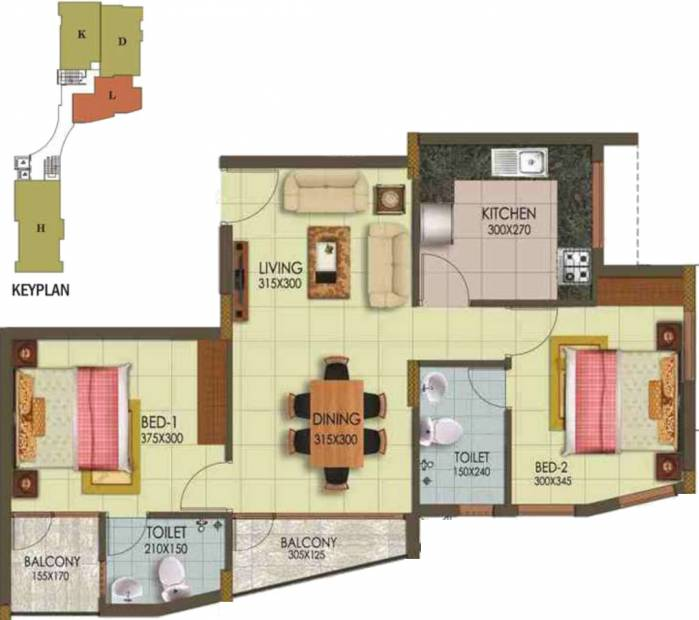 Arcon Infinity (2BHK+2T (965 sq ft) 965 sq ft)