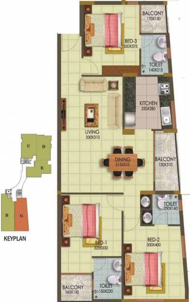 Arcon Infinity (3BHK+3T (1,364 sq ft) 1364 sq ft)
