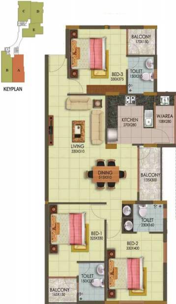 Arcon Infinity (3BHK+3T (1,469 sq ft) 1469 sq ft)