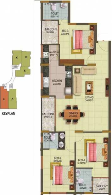 Arcon Infinity (3BHK+3T (1,464 sq ft) 1464 sq ft)