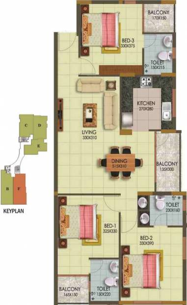 Arcon Infinity (3BHK+3T (1,422 sq ft) 1422 sq ft)