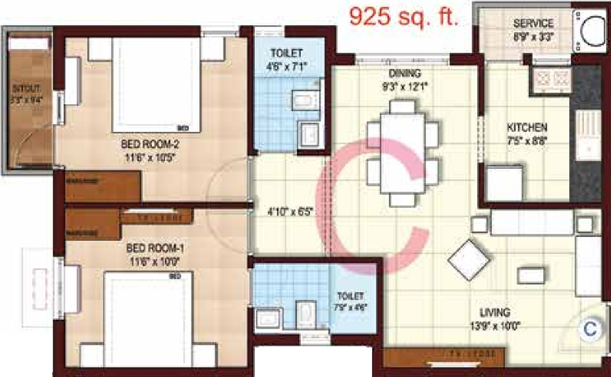 925 Sq Ft 2 Bhk 2t Apartment For Sale In Kgeyes Residency