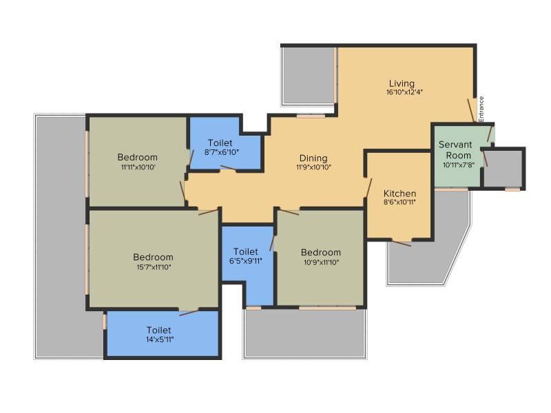 Bestech Park View Altura (3BHK+3T (2,150 sq ft) + Study Room 2150 sq ft)