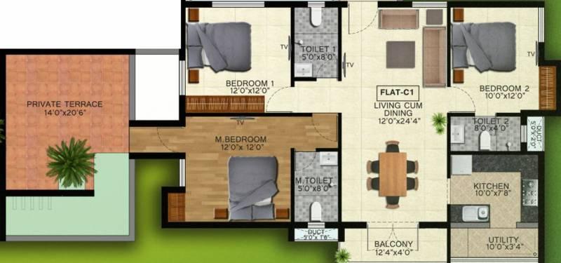Natwest Vistas (3BHK+3T (1,635 sq ft) 1635 sq ft)