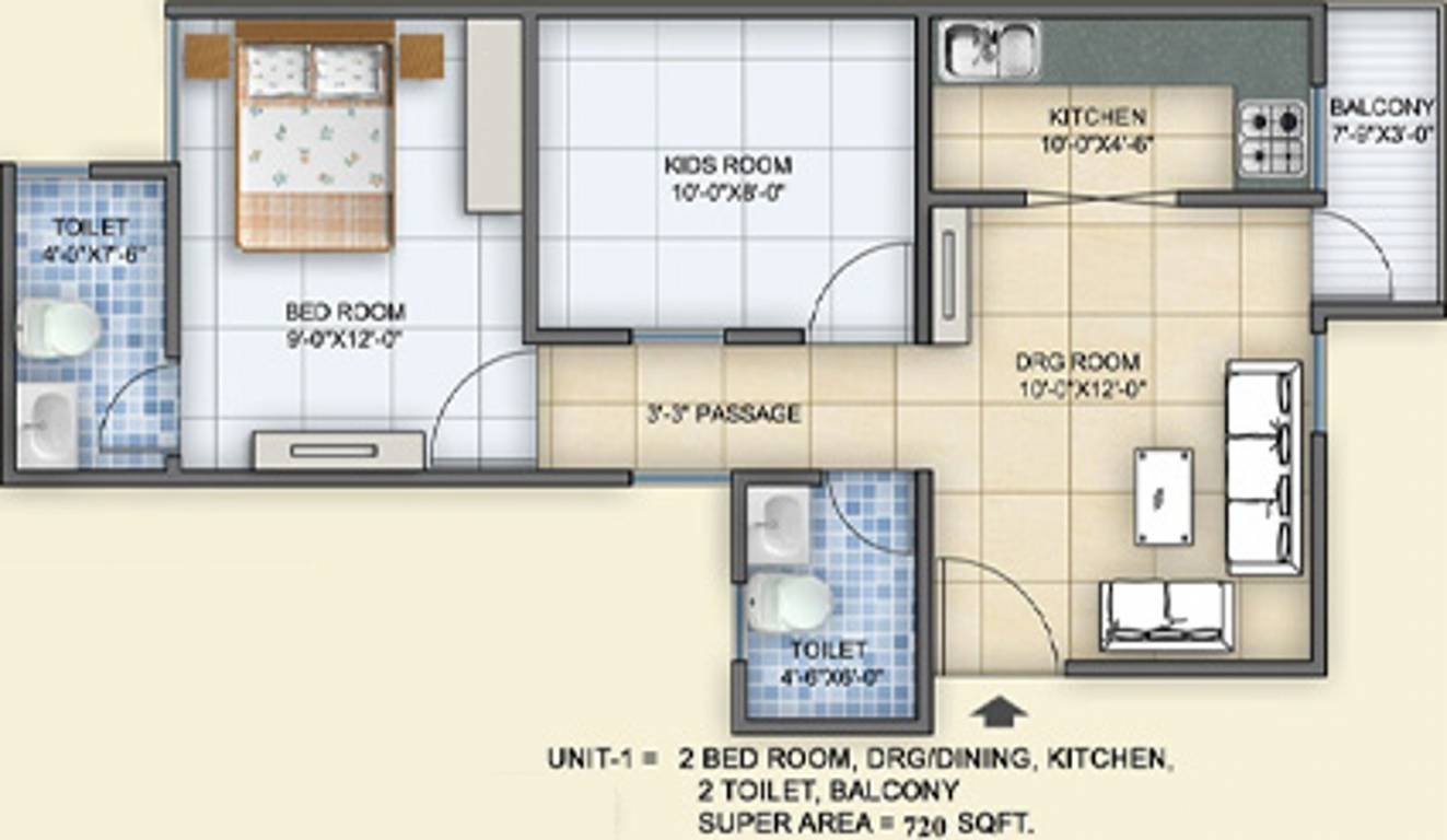 720 Sq Ft Apartment Floor Plan Of 720 Sq Ft 2 Bhk 2t Apartment For Sale In Arsh Group Green