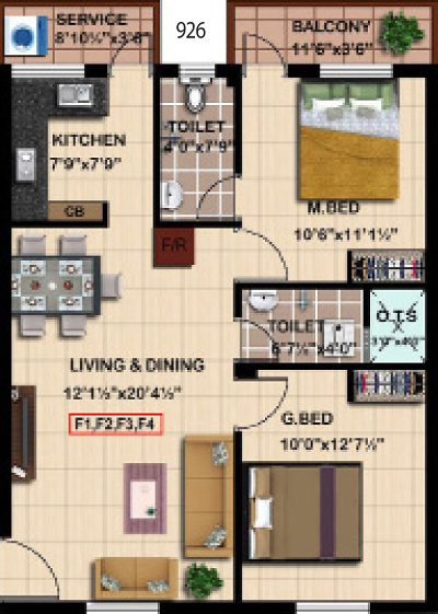 Steps Stone Mahathes (2BHK+2T (926 sq ft) 926 sq ft)