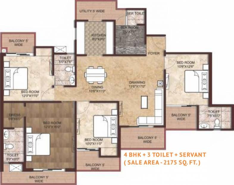Amrapali Adarsh Awas Yojna (4BHK+3T (2,175 sq ft) + Servant Room 2175 sq ft)
