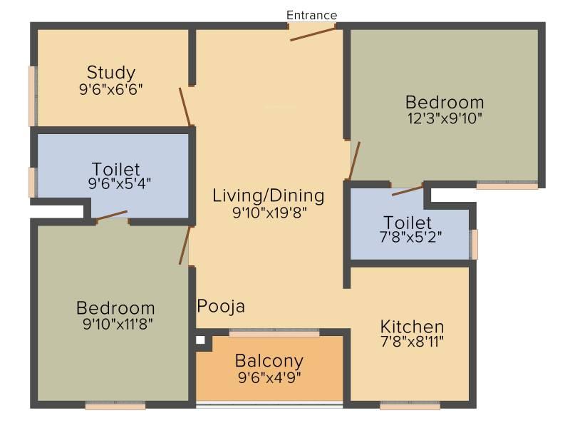 Sapthrishi asta AVM (2BHK+2T (1,080 sq ft) + Study Room 1080 sq ft)