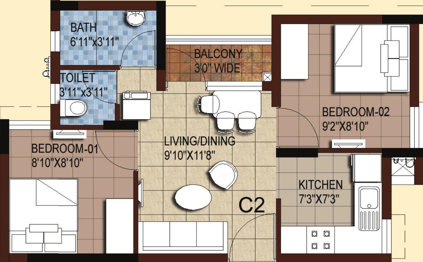 700 sq ft 2 BHK Floor Plan Image Akshaya Homes Tango Compact