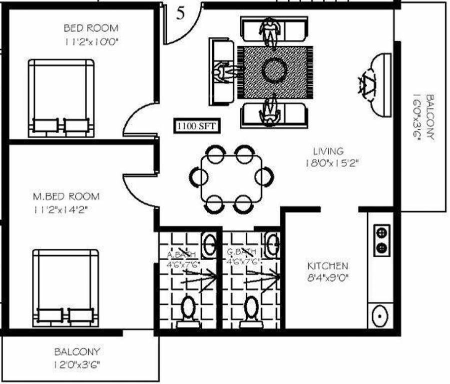 1100 sq ft 2 bhk 2t apartment for sale in highcity for 1100 sq ft apartment floor plan