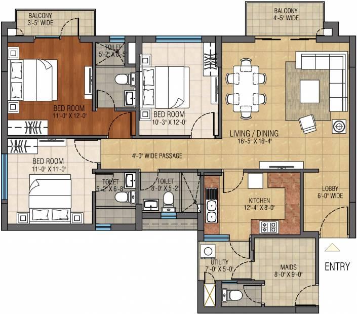 Anik One Rajarhat (3BHK+3T (1,851 sq ft) + Servant Room 1851 sq ft)