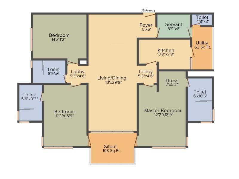 Vipul Aarohan (3BHK+3T (2,260 sq ft)   Servant Room 2260 sq ft)