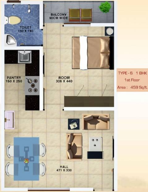 Bhavans Celestia (1BHK+1T (459 sq ft) 459 sq ft)