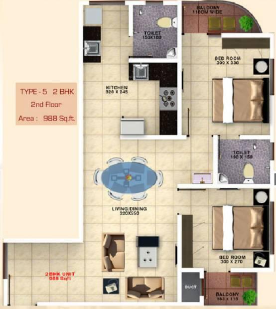 Bhavans Celestia (2BHK+2T (988 sq ft) 988 sq ft)