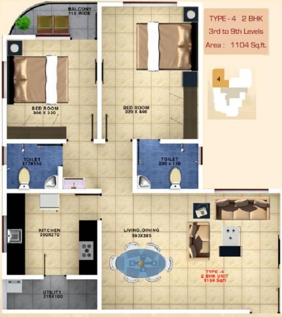 Bhavans Celestia (2BHK+2T (1,104 sq ft) 1104 sq ft)