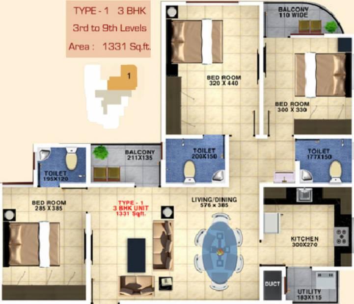 Bhavans Celestia (3BHK+3T (1,331 sq ft) 1331 sq ft)
