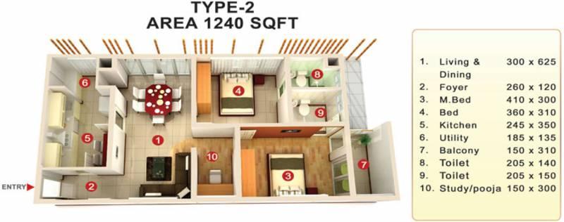Mookambika Bamboo Waves (2BHK+2T (1,240 sq ft) + Pooja Room 1240 sq ft)