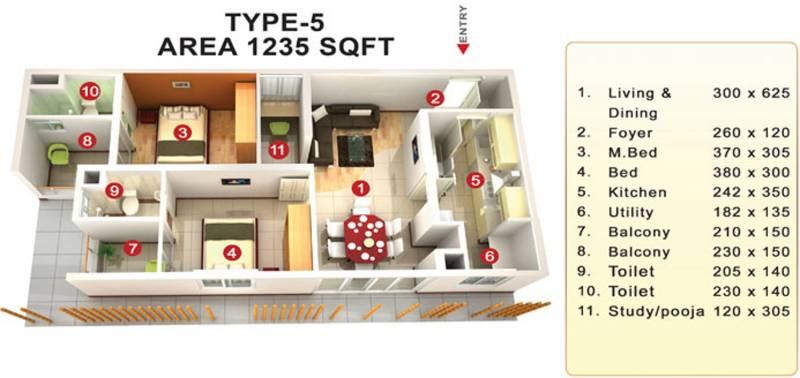 Mookambika Bamboo Waves (2BHK+2T (1,235 sq ft) + Pooja Room 1235 sq ft)