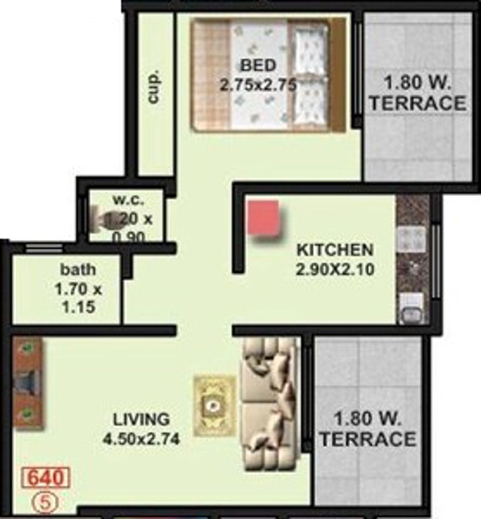 640 Sq Ft 1 Bhk 1t Apartment For Sale In Kashmira Builder