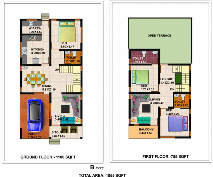 Shanoor Willows (3BHK+3T (1,855 sq ft) 1855 sq ft)