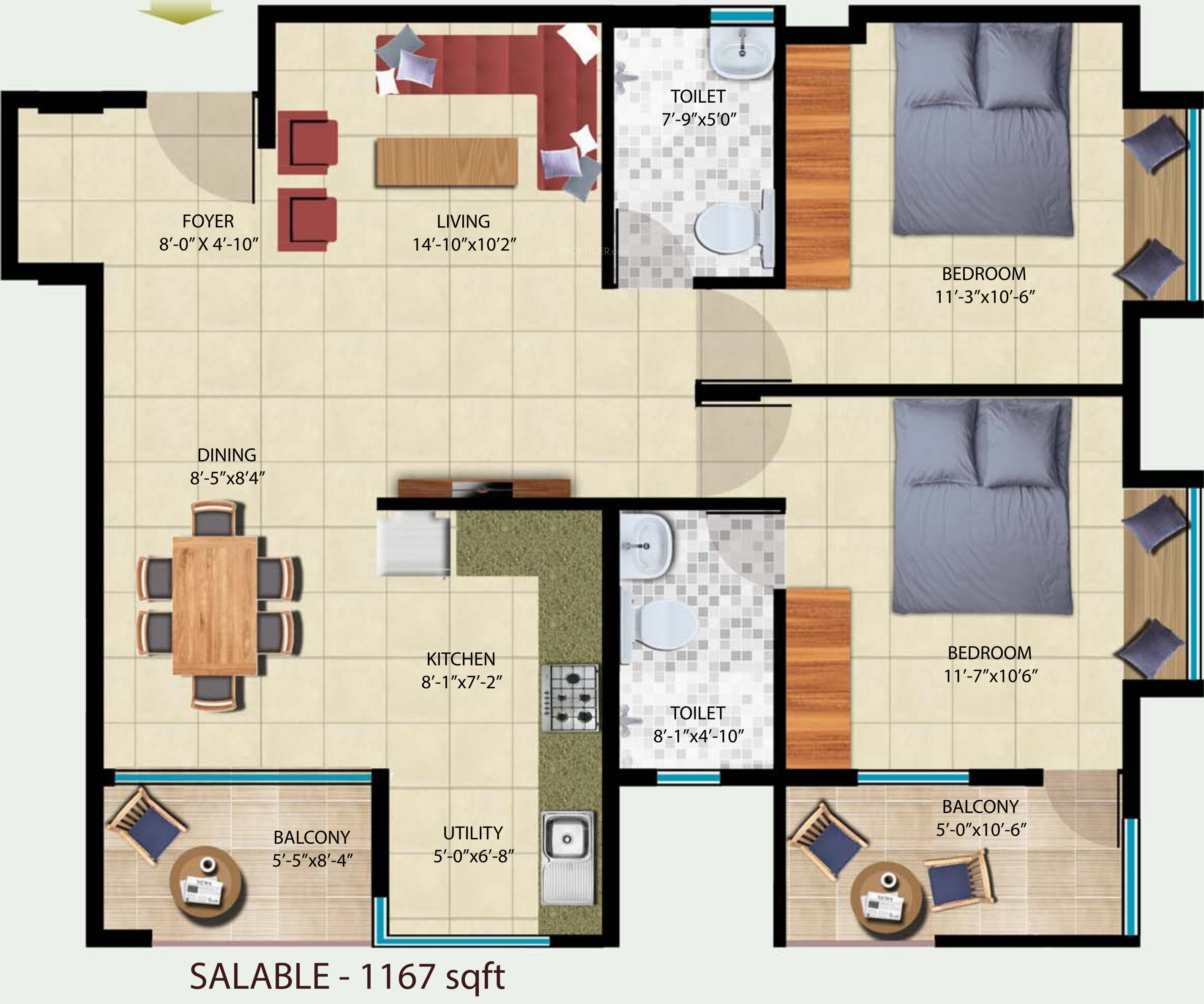 1167 sq ft 2 bhk 2t apartment for sale in navyam lake view for Lake view floor plans