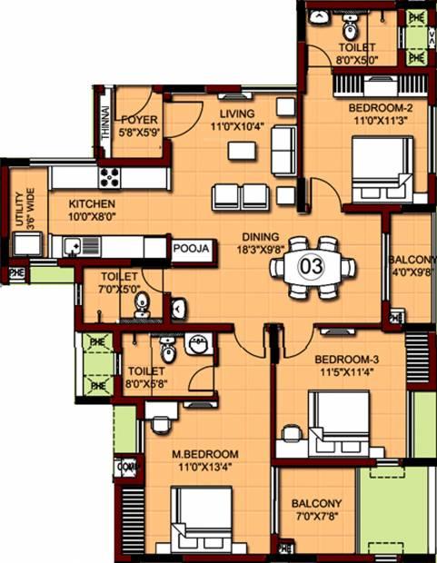 XS Real Properties Siena (3BHK+3T (1,571 sq ft) 1571 sq ft)