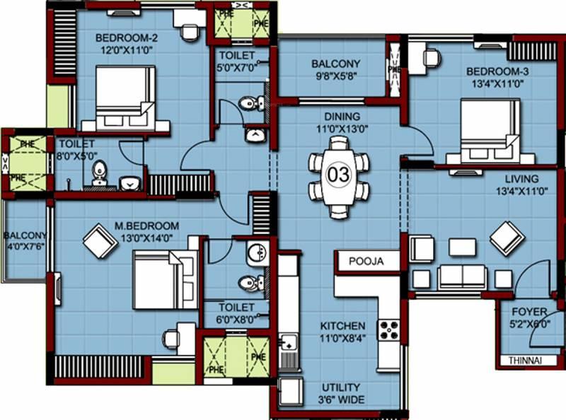 XS Real Properties Siena (3BHK+3T (1,827 sq ft) 1827 sq ft)
