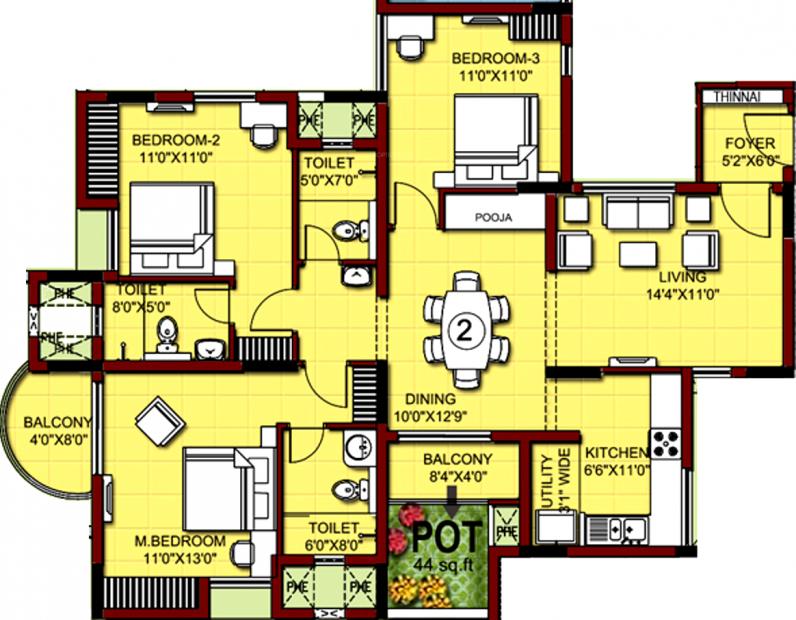 XS Real Properties Siena (3BHK+3T (1,659 sq ft)   Pooja Room 1659 sq ft)