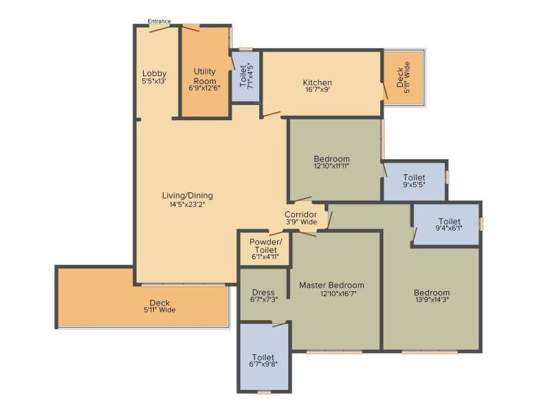 DLF The Crest (3BHK+3T (2,800 sq ft)   Servant Room 2800 sq ft)