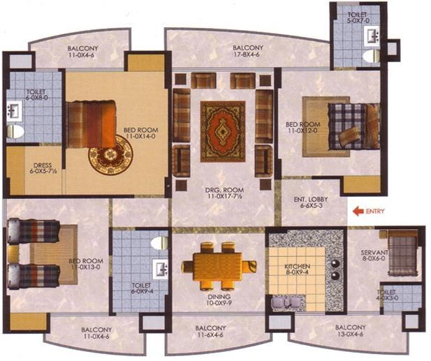 The Antriksh Greens (3BHK+3T (1,879 sq ft)   Servant Room 1879 sq ft)