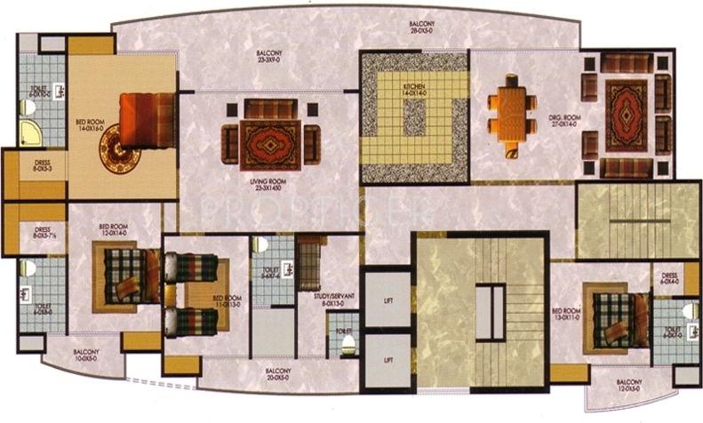 The Antriksh Greens (4BHK+5T (3,735 sq ft) + Study Room 3735 sq ft)