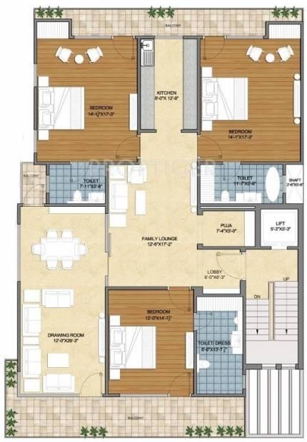 Real Suncity (3BHK+3T (2,800 sq ft)   Pooja Room 2800 sq ft)