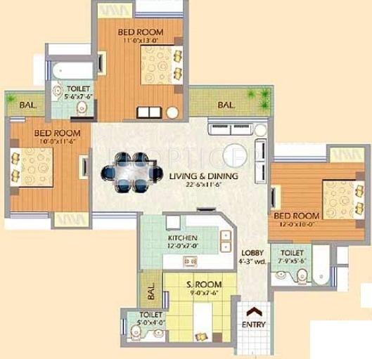 SDS NRI Residency (3BHK+3T (1,435 sq ft) + Servant Room 1435 sq ft)