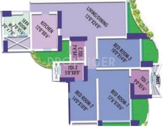 1800 Sq Ft 3 Bhk Floor Plan Image Marathon Realty