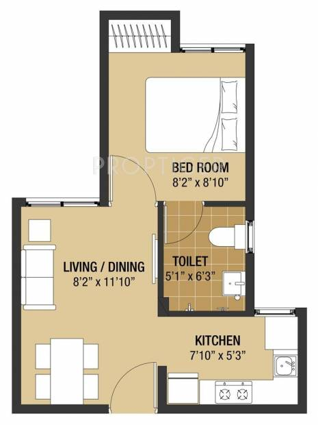 375 Sq Ft 1 Bhk Floor Plan Image Arun Excello Compact