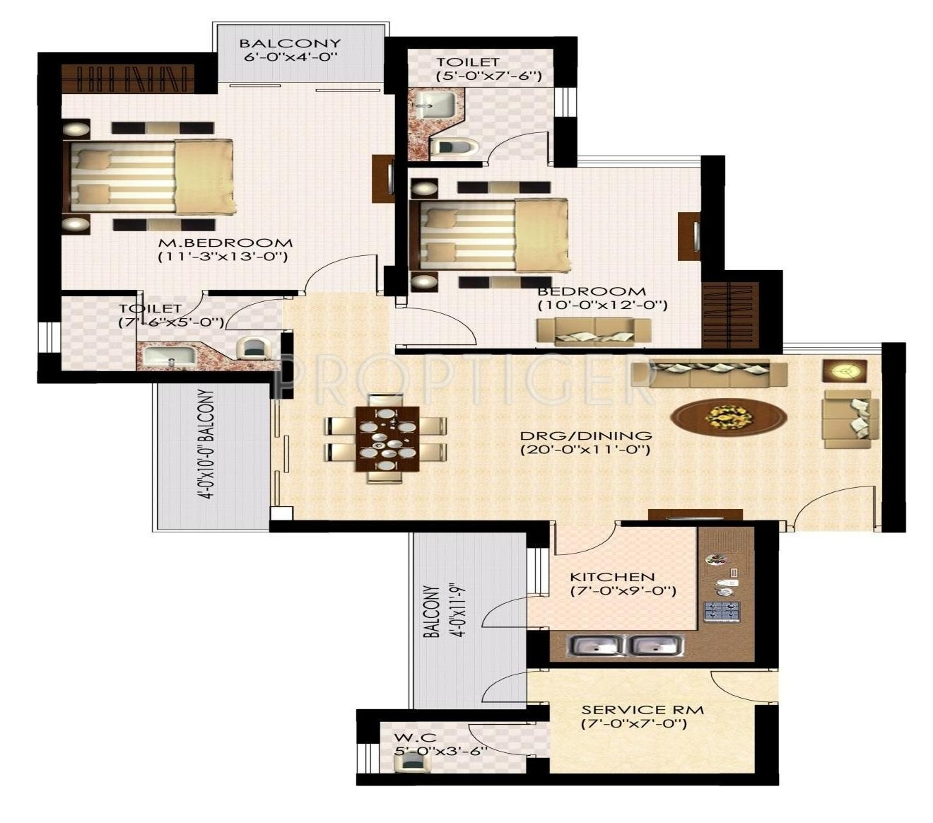 1200 sq ft 2 bhk 2t apartment for sale in urbtech india for Apartment plans 1200 sq ft